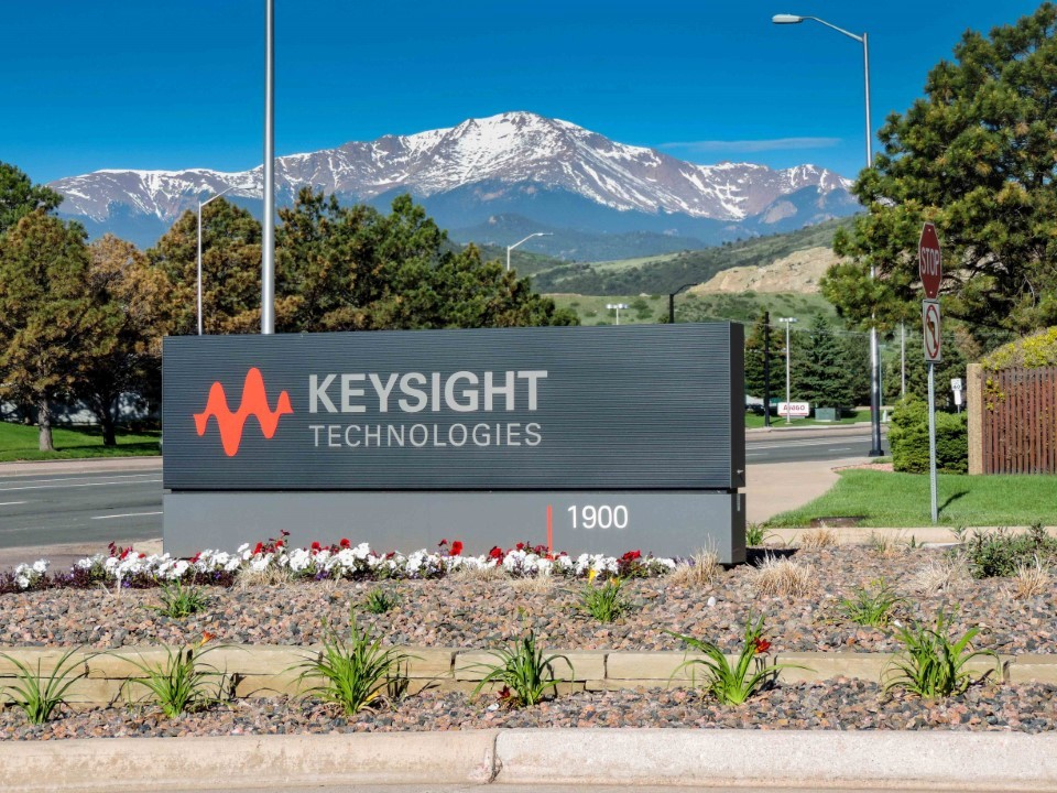 Keysight Technologies Colorado Springs site entrance, with Pikes Peak in the background