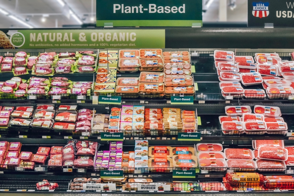 kroger sustainability plant-based meat display