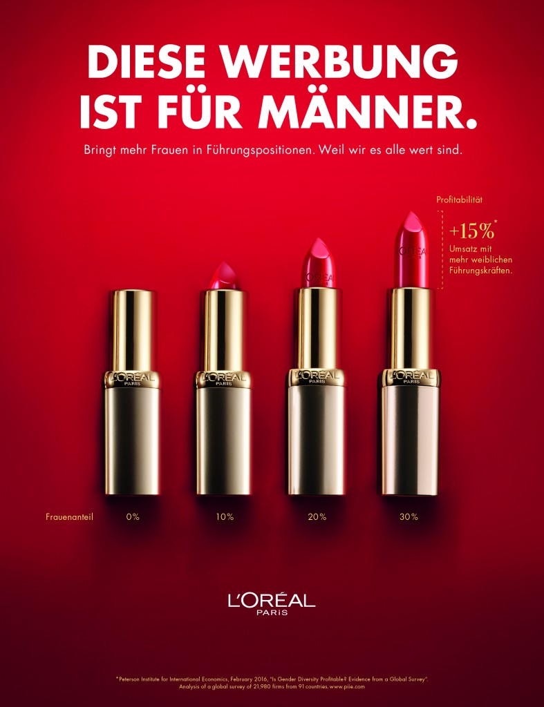 This ad is showing how L'Oreal is standing up for gender diversity