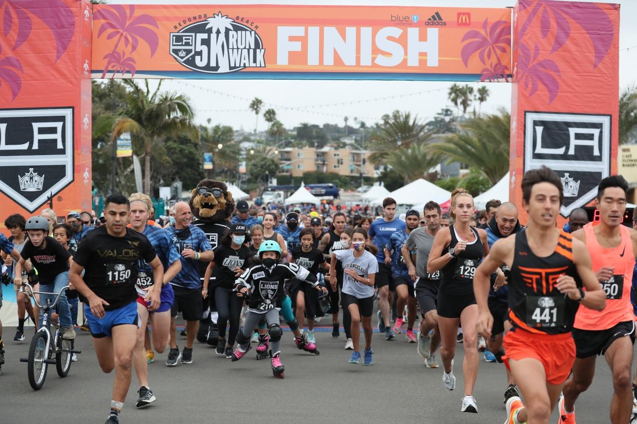 More than 2,000 community members run, walk and skate through Redondo Beach, Calif. during the annual LA Kings 5K on September 18, 2021.