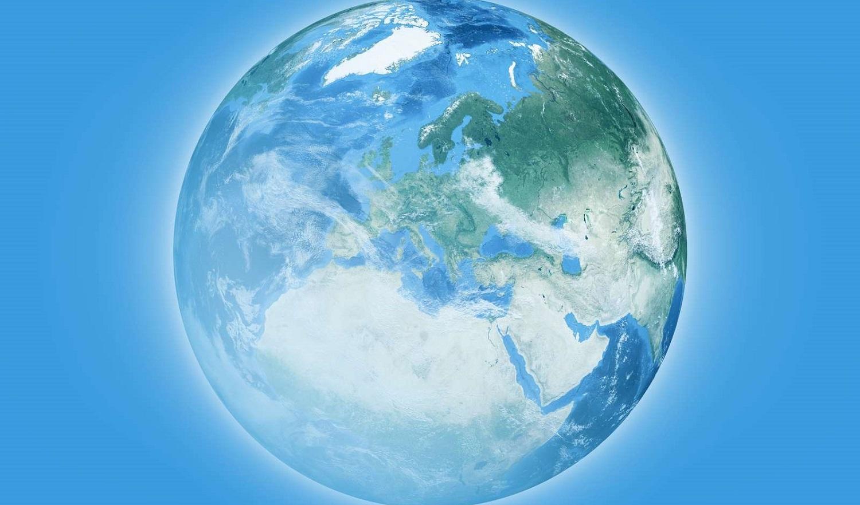 The globe on blue background
