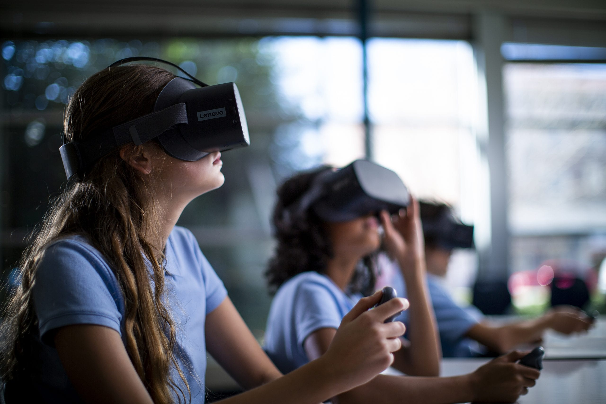 Students using VR headsets