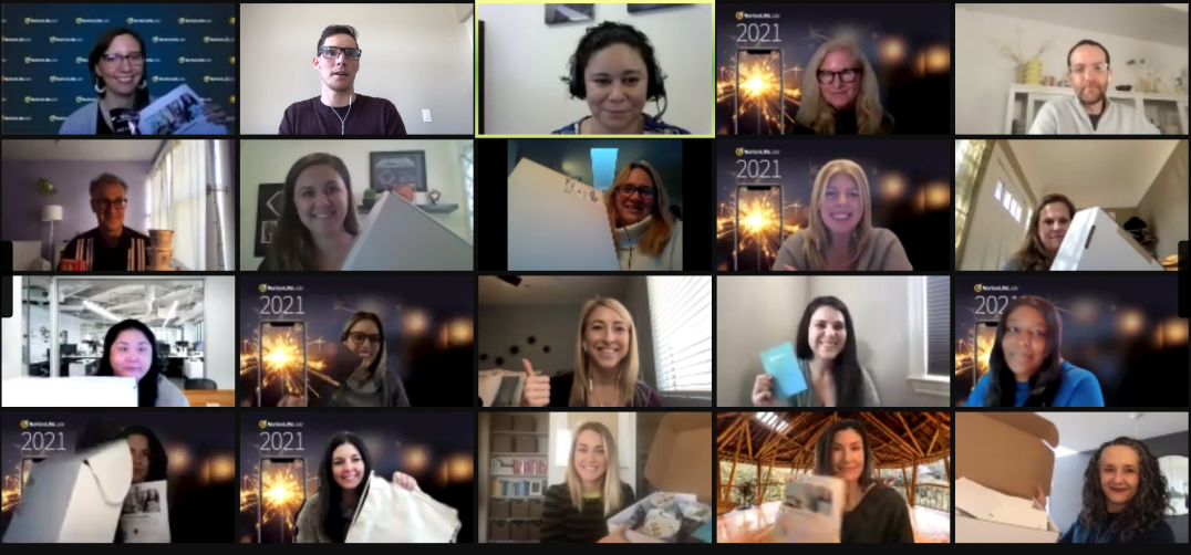 Members of the Marketing, Branding, and Communications Team participate in a virtual team-building volunteer event