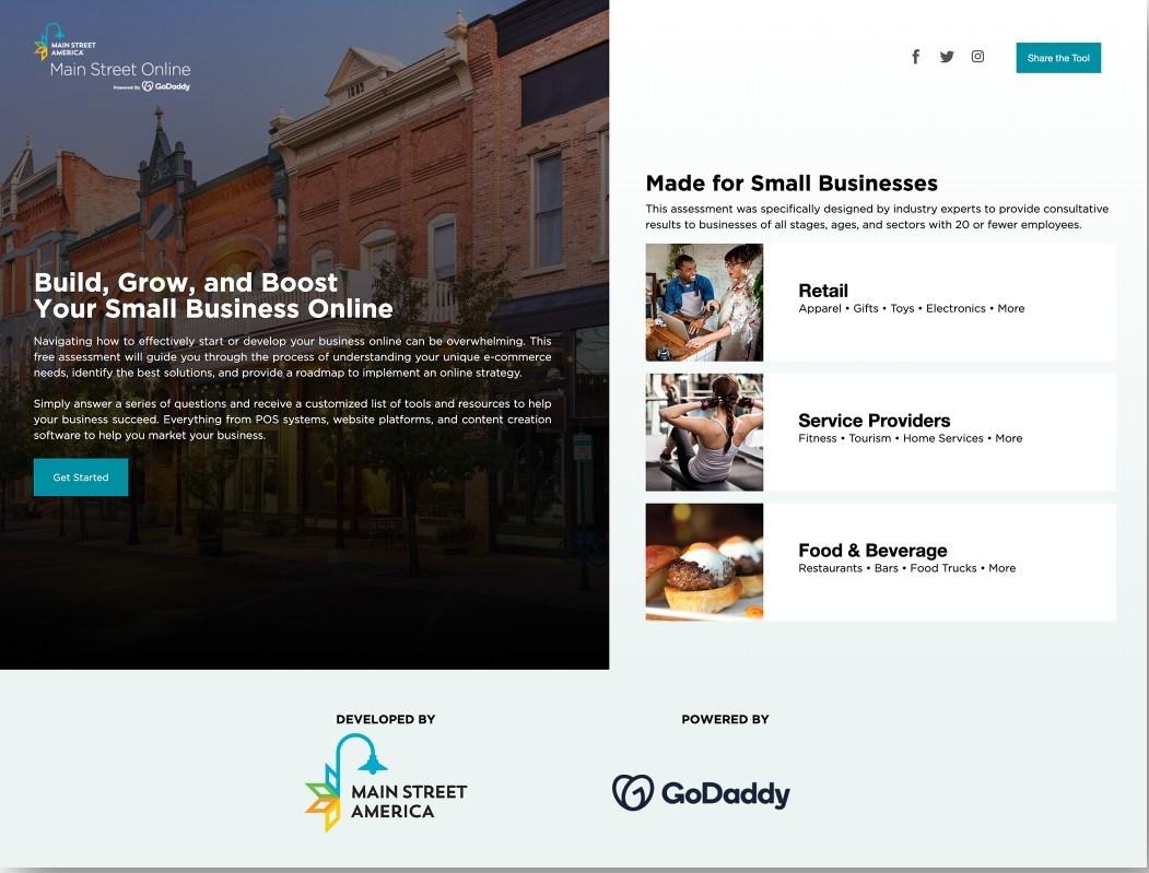 Main Street Online homepage