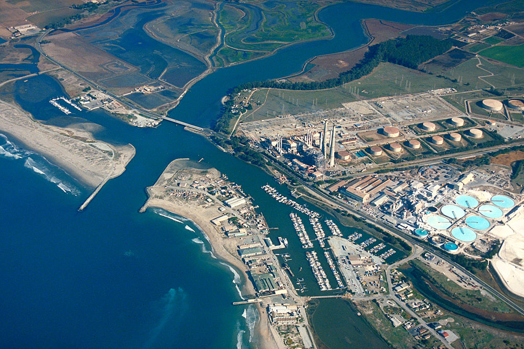 An aerial view of the Moss Landing power plant and surrounding area