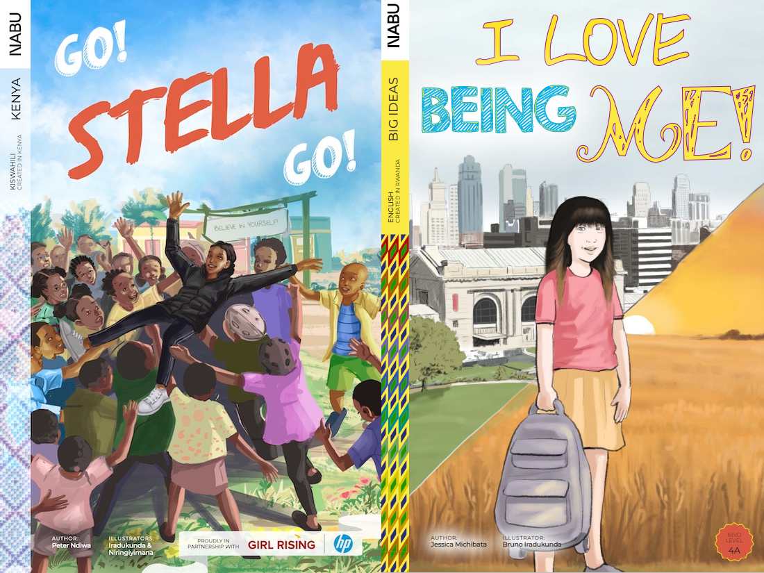 """two picture book covers, """"I love being me"""" and """"go Stella, go!"""""""