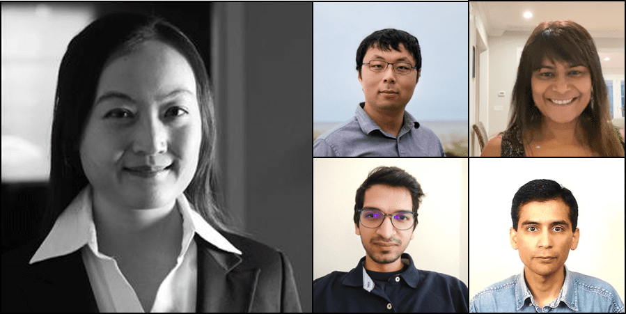 Left, Data scientist Barbara Xu and her teammates in the Smart Assistive Tech Hackathon: (Top L to R) Jixin Feng, Carolyn Sealy, (Bottom L to R), Piyush Choudhary, Sergio Valadez Cruz