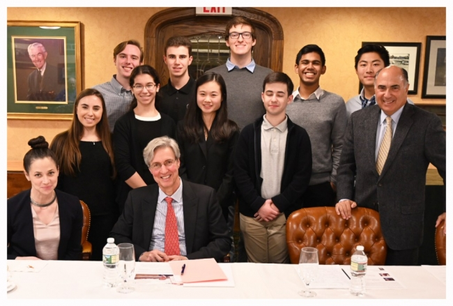 Ralph Izzo, Chairman, President & CEO – PSEG (seated, front) during a 2018 Fireside Chat with student from the STEM Scholars Program