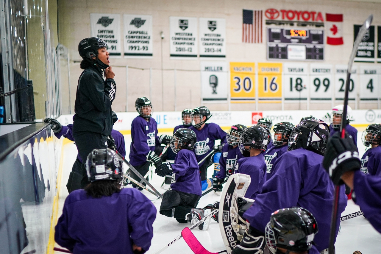 """LA Kings' Blake Bolden, the club's AHL Scout and Growth and Inclusion Specialist – and the first Black professional women's hockey player after graduating college – coaches 30 youth during the LA Kings' first """"We Are All Kings Camp"""" at Toyota Sports Performance Center in El Segundo on August 2-7, 2021."""