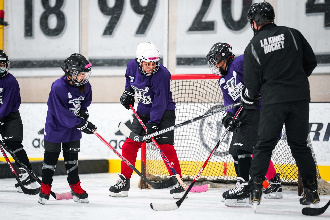 """AEG's LA Kings host the club's first week-long """"We Are All Kings Camp"""" to introduce new players to the game of hockey at the Toyota Sports Performance Center in El Segundo on August 2-7, 2021."""