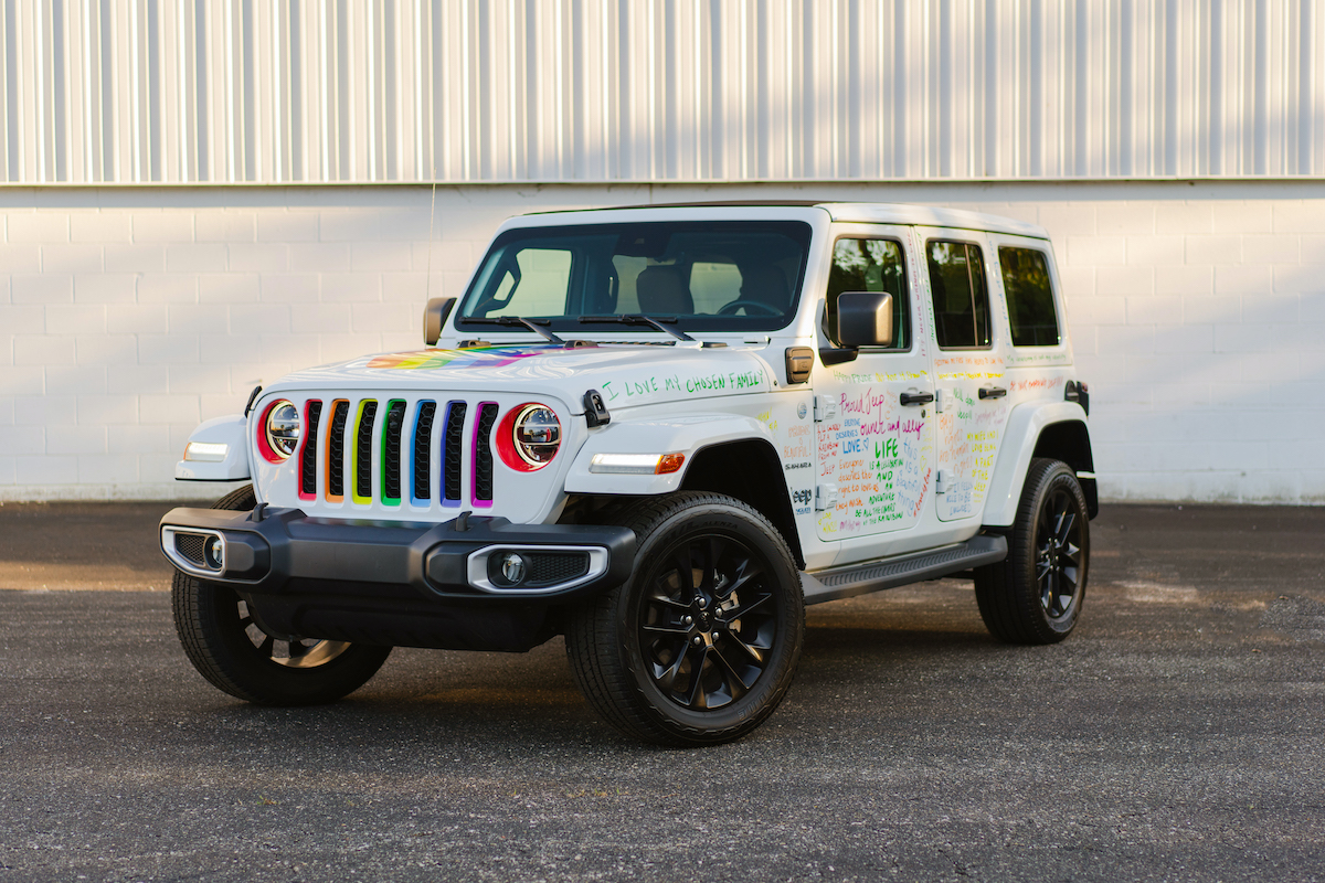 A specially wrapped 2021 Jeep Wrangler 4xe will serve as the grand marshal vehicle of the Motor City Pride parade.