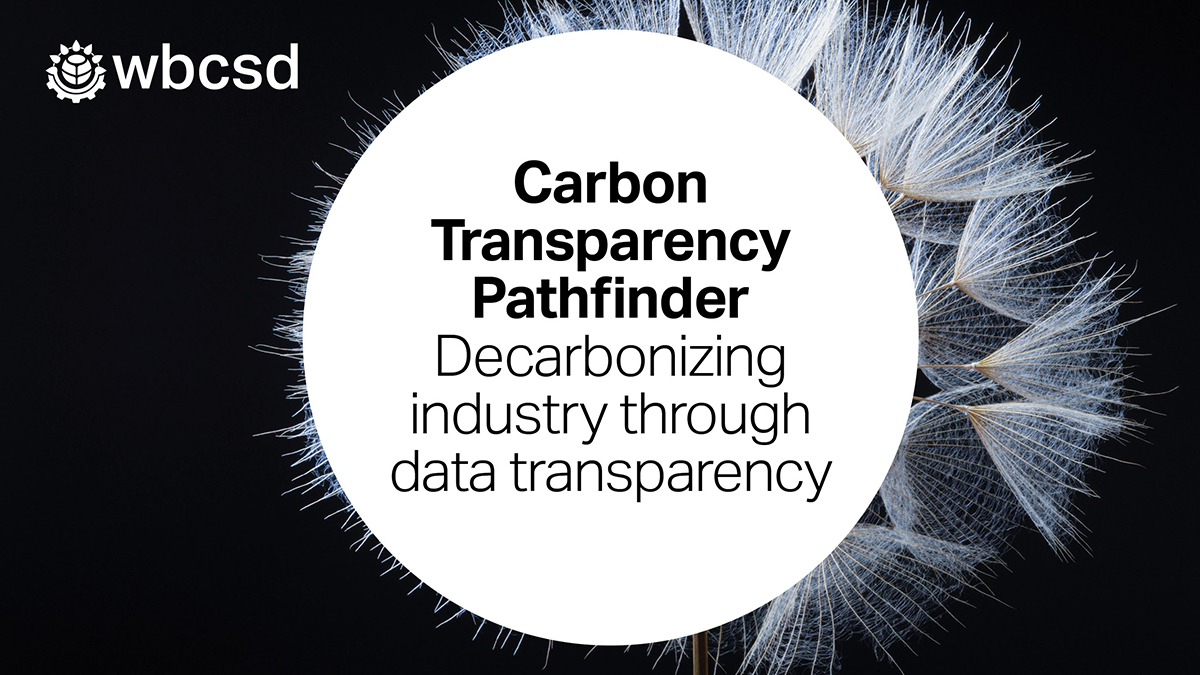 "Banner image reading ""Carbon Transparency Pathfinder: decarbonizing industry through data transparency"