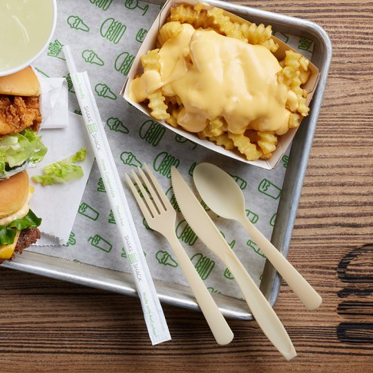 The new cutlery and straws at some Shake Shack locations is derived from ocean-based microbe.