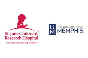 St. Jude Children's Research Hospital's logo and University of Memphis logo