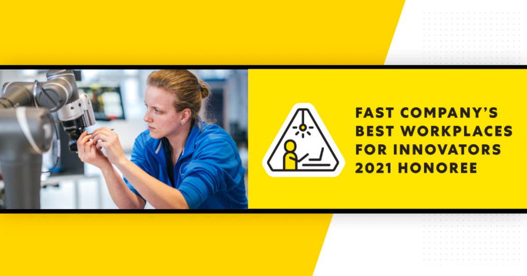 """Banner image of Stanley Black and Decker worker with banner reading """"Fast Company's Best Workplaces for Innovators 2021 Honoree"""""""
