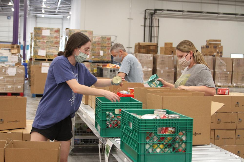 Volunteers at a food bank