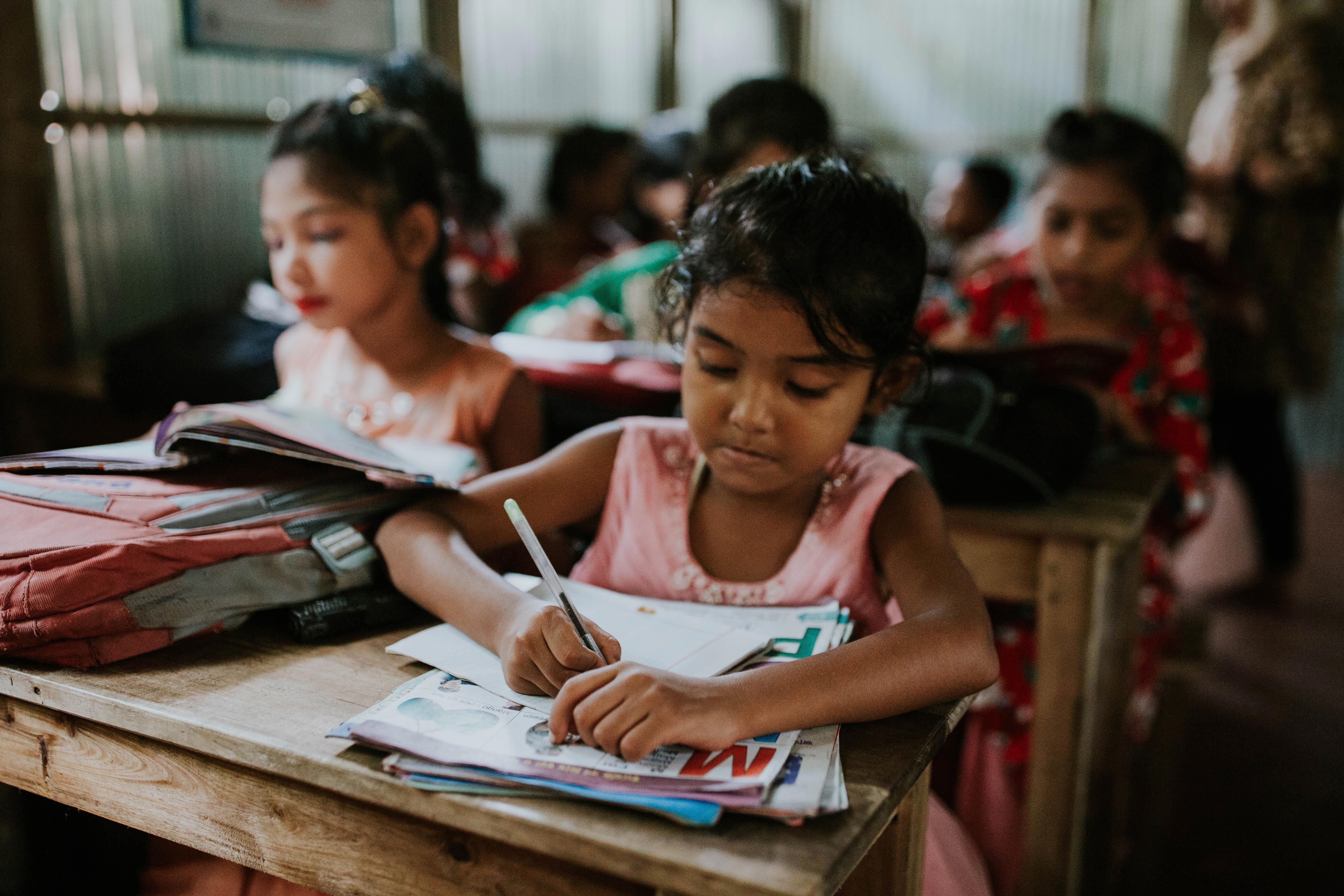 Rohingya refugee children attending class in Bangladesh