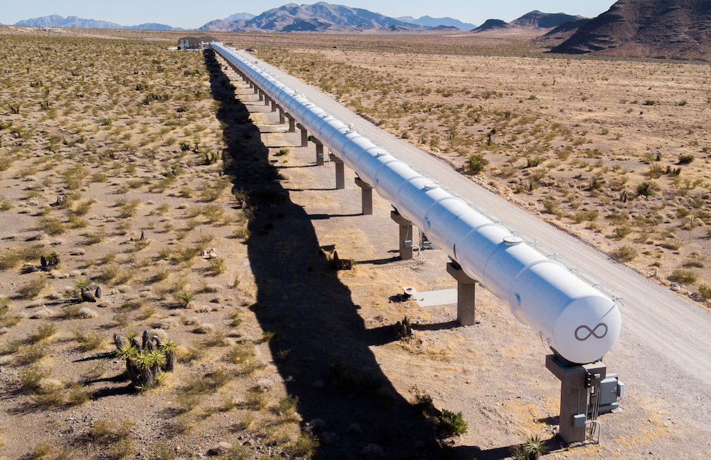The Virgin Hyperloop test track in the desert outside Las Vegas, NV