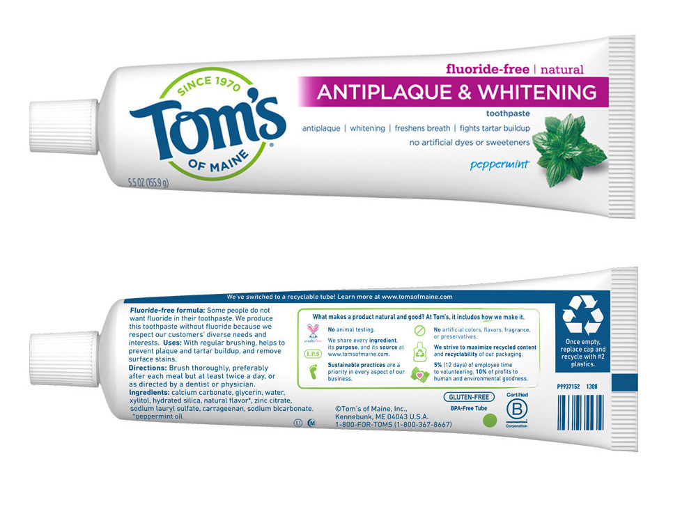 sustainable packaging Tom's of Maine recyclable toothpaste tube