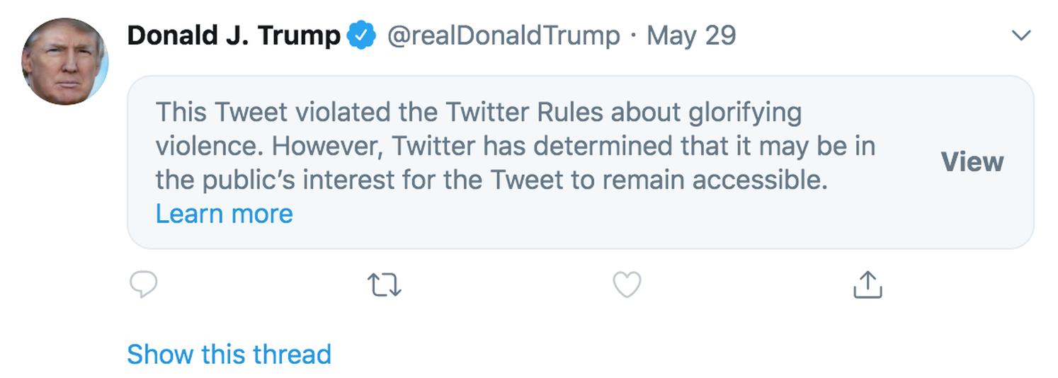 Twitter hides Trump's tweet but Facebook leaves it alone