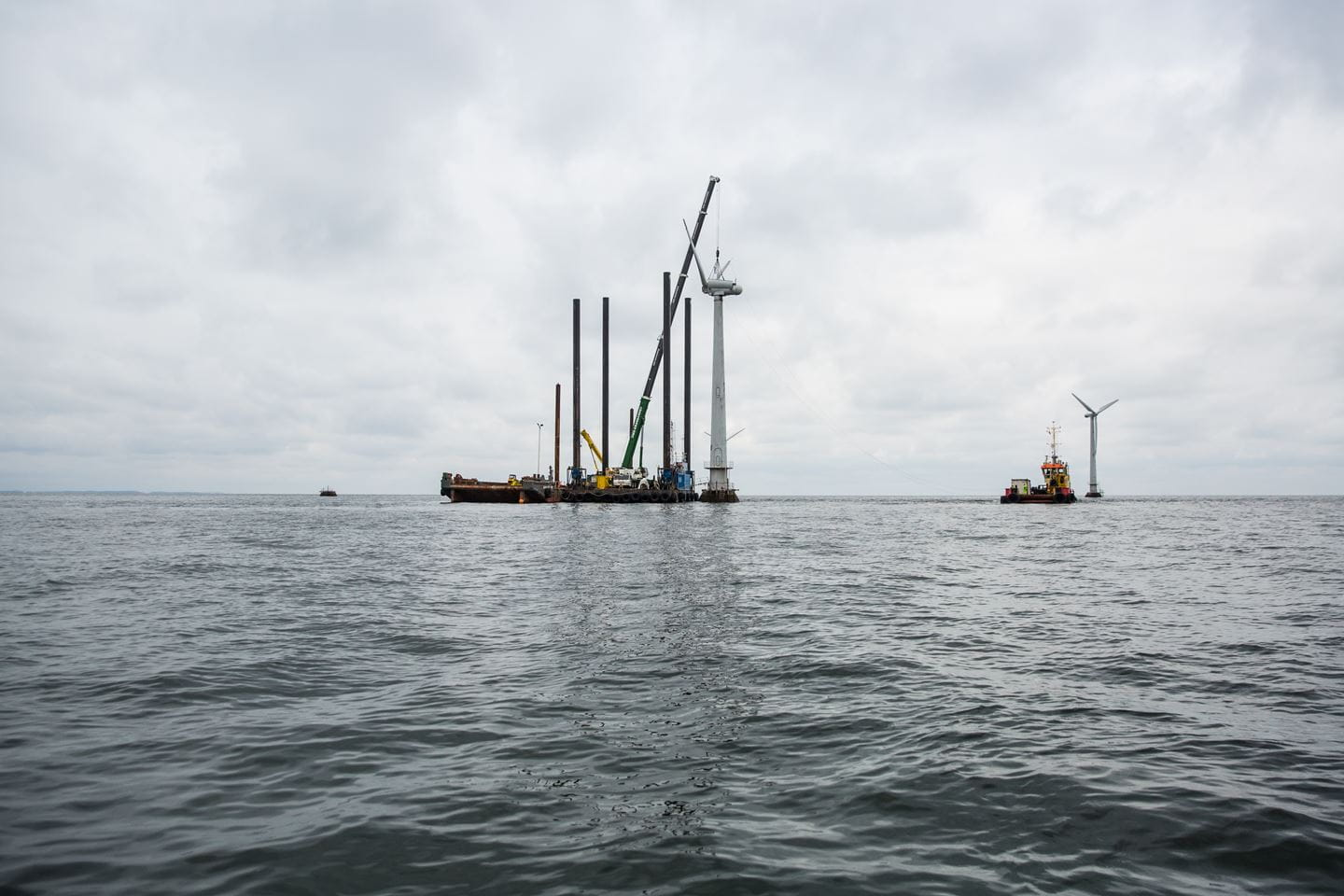 Wind turbines being disassembled