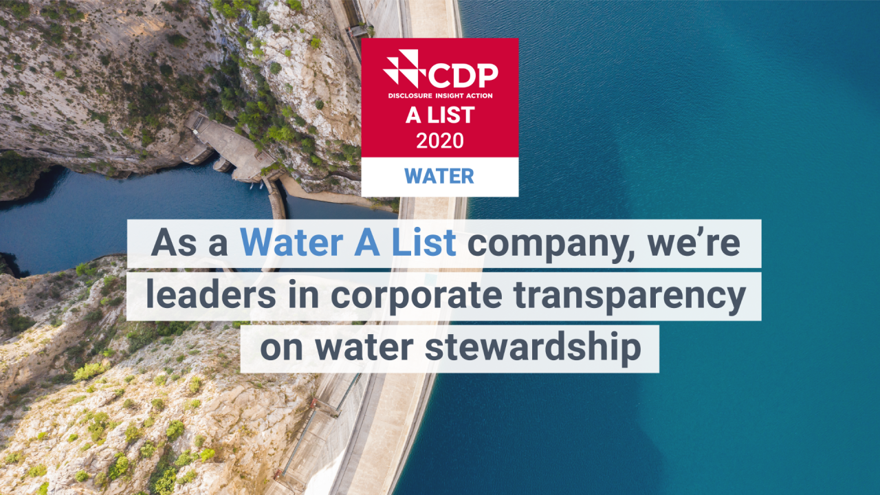 CDP 2020 Water A List Award Image