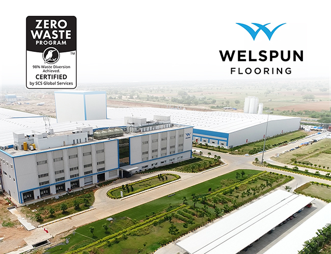 Zero Waste Program Certification logo and Welspun Flooring logo superimposed on an image of Welspun's facilities