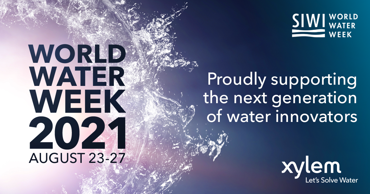 """Banner reading """"World Water Week 2021: August 23-27. Proudly supporting the next generation of water innovators"""""""