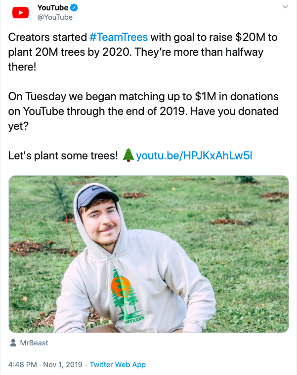 #TeamTrees YouTube influencer campaign raises millions for tree-planting