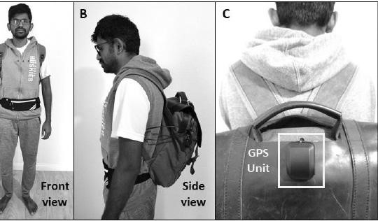 Jagadish K. Mahendran models his AI-powered, voice-activated backpack that can help the visually impaired navigate and perceive the world around them.