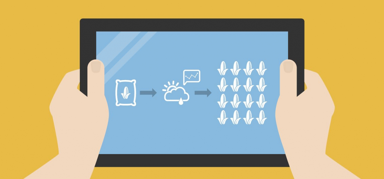Illustration of hands holding a tablet with a graphic on it