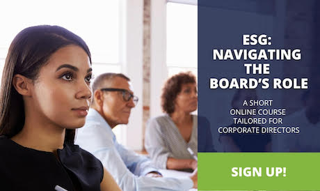 """Image of student with text reading """"ESG: Navigating the Board's Role: A short online course for corporate directions. Sign up!"""""""