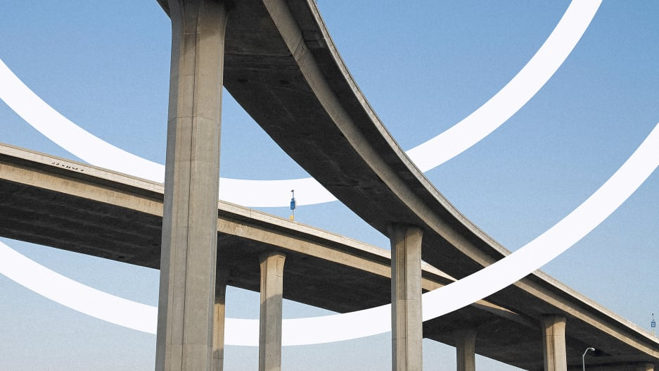 View of a raised highway from below