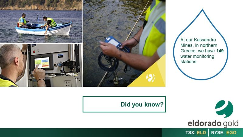 """Images water monitoring, image reads: Did you know? """"At our Kassanra mines in Northern Greece, we have 149 water monitoring stations."""""""