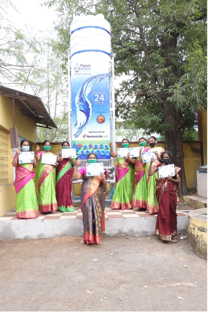 Teachers at Panchayat Union Primary School have been certified in how to use the new AquaTower