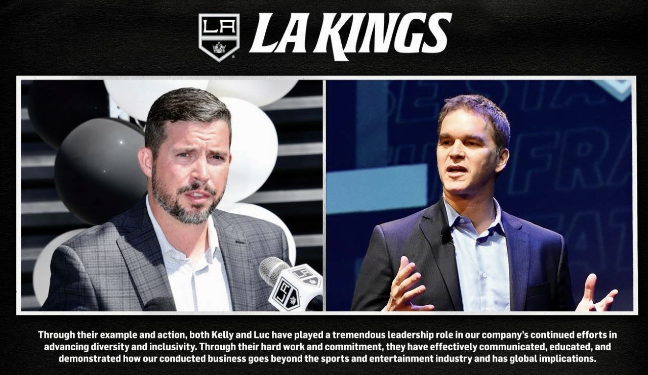 Los Angeles Kings' Luc Robitaille, President and Kelly Cheeseman, Chief Operating Officer, were recognized by Sports Business Journal for advancing the sports business careers of women, people of color and members of the LGBTQ+ community in sports