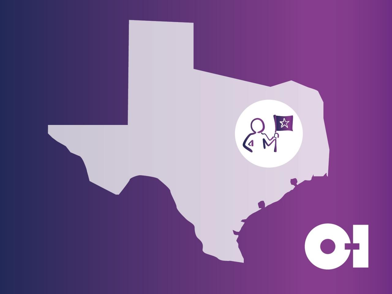 Outline of Texas and O-I logo
