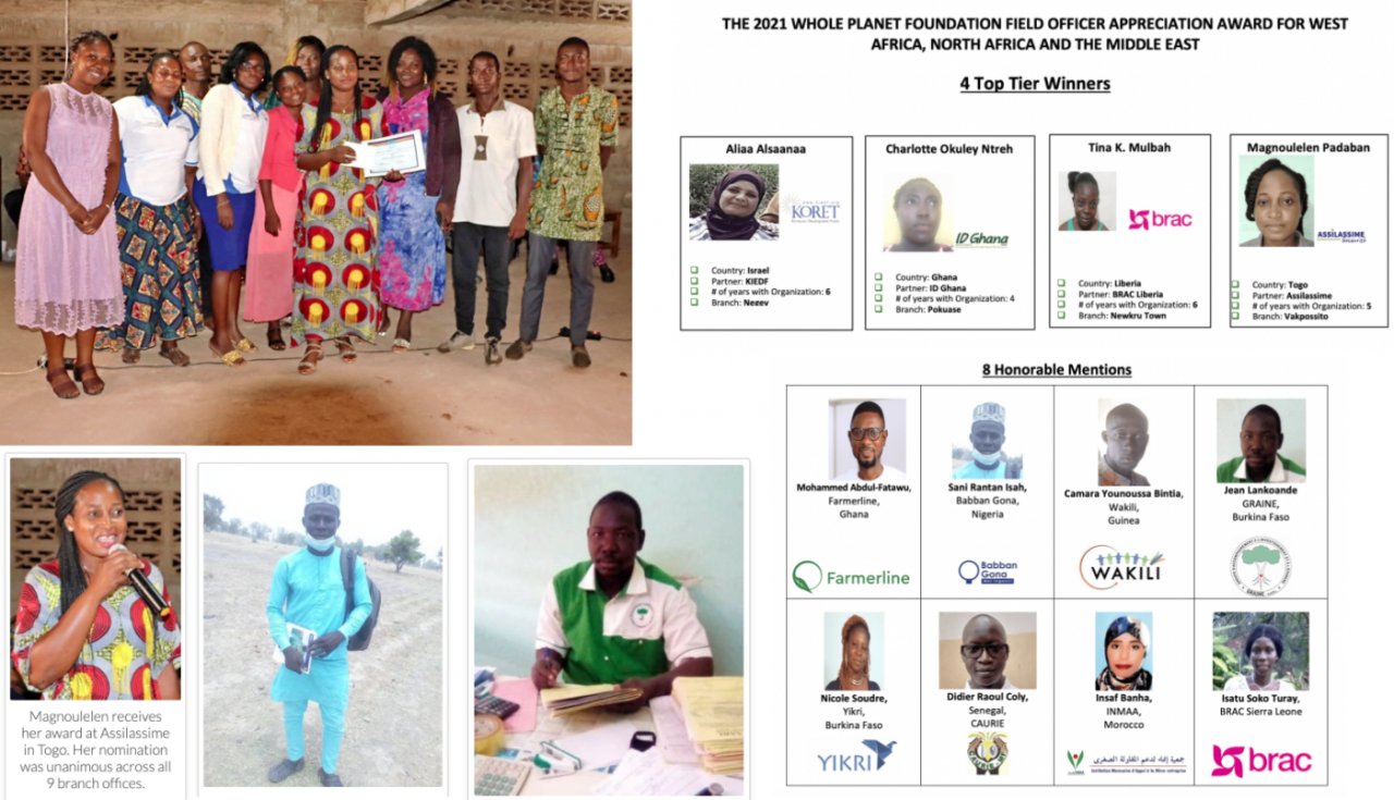 The winners of the 2021 WPF Field Officer Appreciation Awards in the West Africa/MENA region.