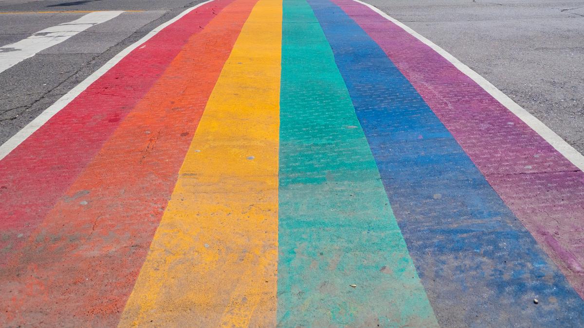 Pride flag painted on street