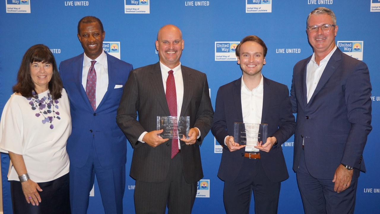 Pictured left to right: UWSELA Board of Trustee Chair Cathy McRae, Marcus Brown, Brad Fleming, Entergy CSR Program Coordinator Kaleb Stargel and UWSELA President and CEO Michael Williamson.