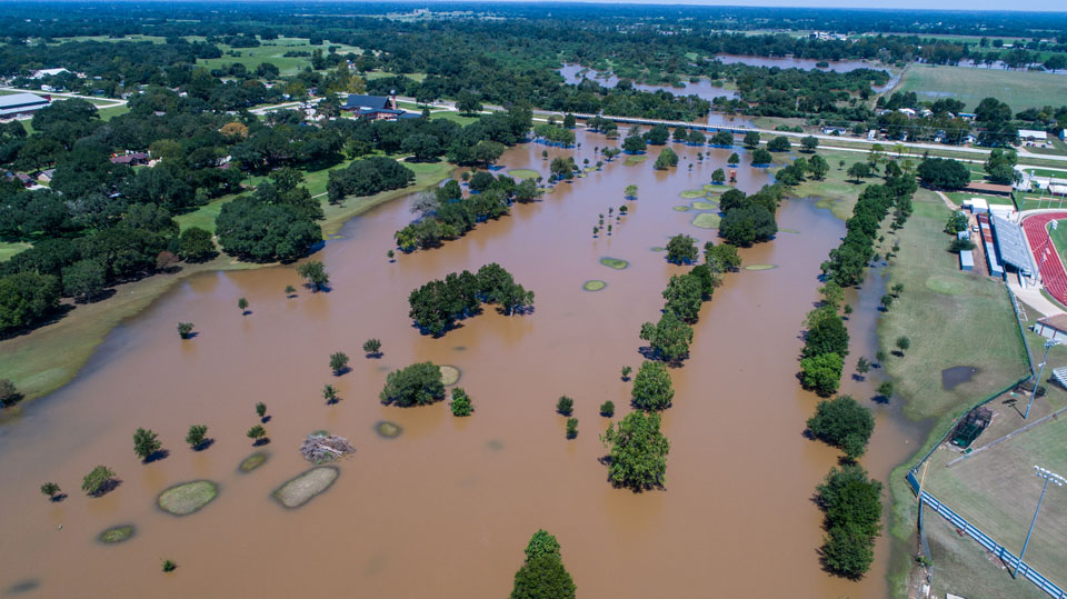 Over head view of flooded fields