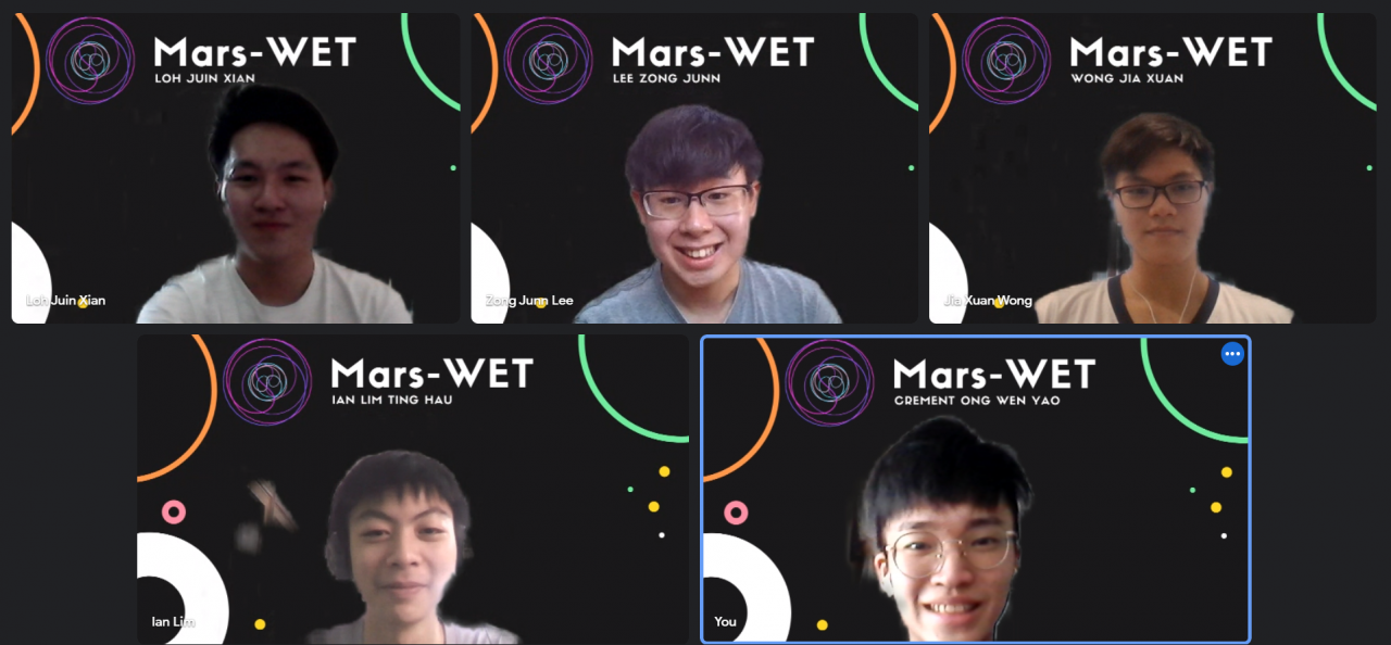 5 students on a zoom call