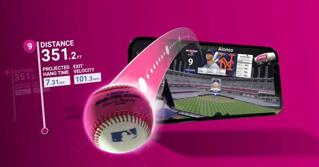 Baseball coming out of the screen of a phone game