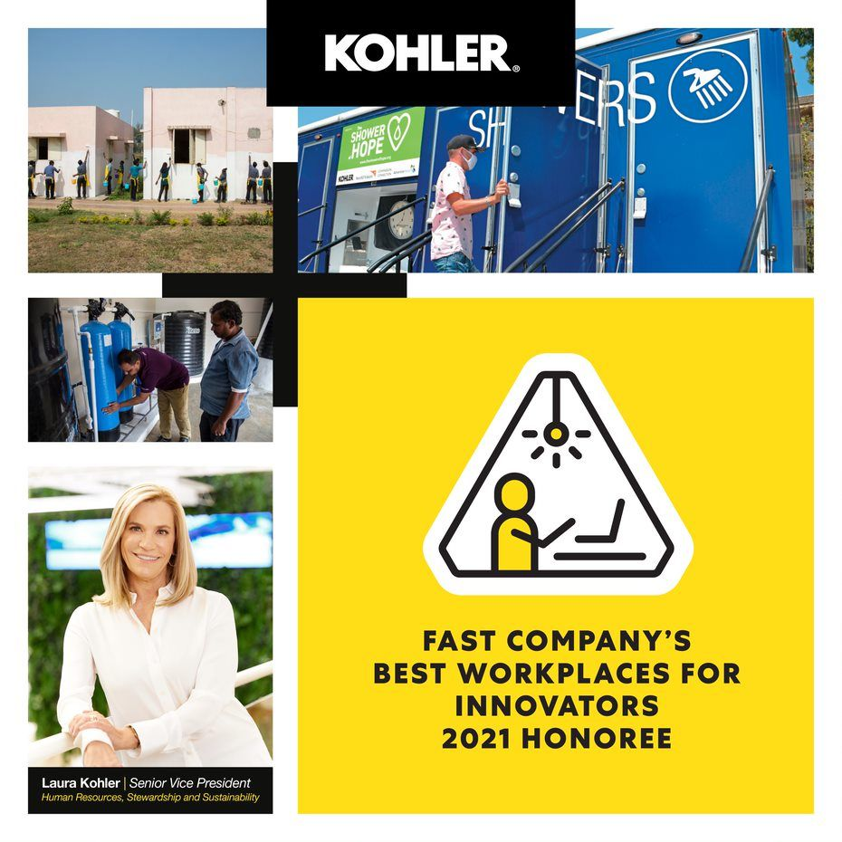 Kohler employees working: Image reads Fast Company's Best Workplaces for Innovators 2021 Honoree