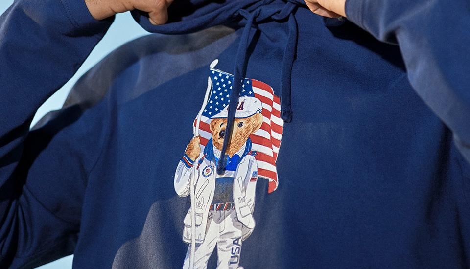 ecofast hoodie with american flag and stuffed bear