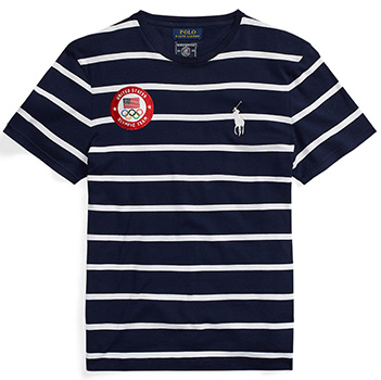 Team USA striped t-shirt in the opening ceremony uniform.