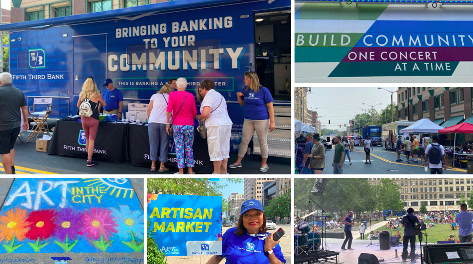 Brining banking to your community event. collage of Fifth third eBus and employees volunteering