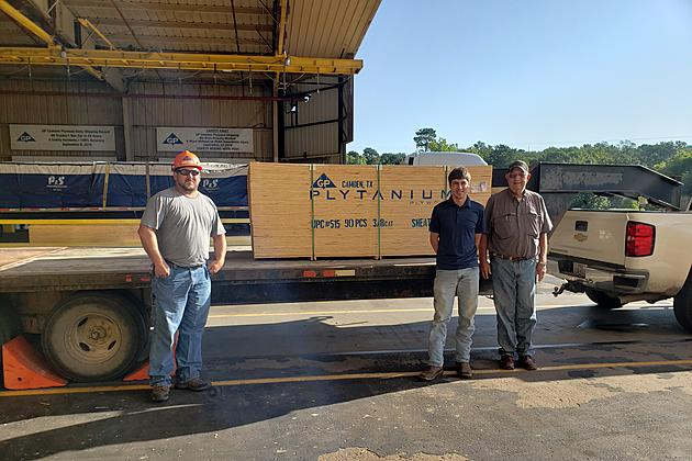 Pictured (l to r) are Timothy Skinner, GP Camden Plywood Shipping Forklift Operator; Andrew Krenek, Groveton Ag Science Teacher; and Luther Cockrell, Groveton ISD Maintenance representative