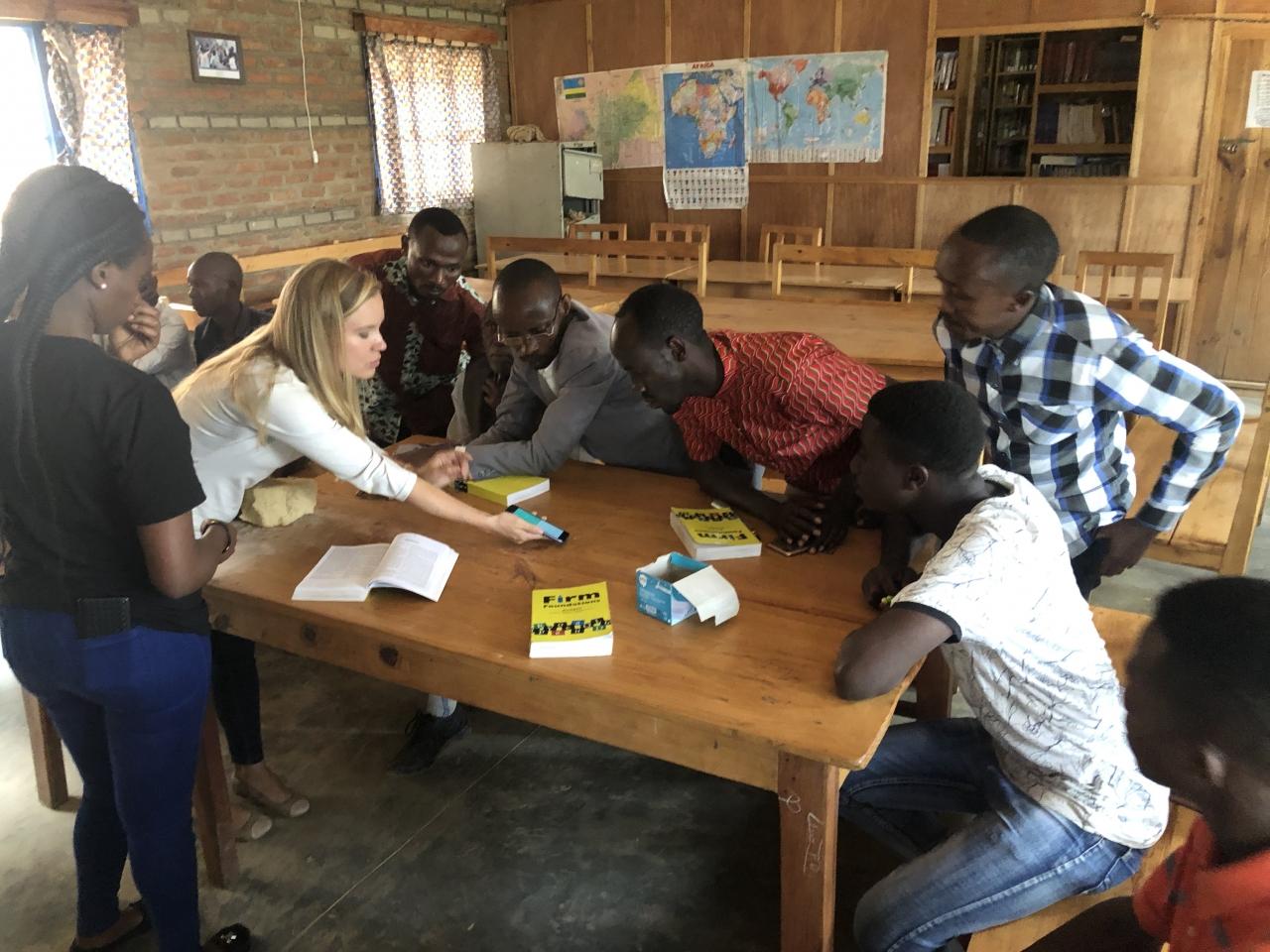 Tori and Chance giving a demo in a refugee camp in western Rwanda
