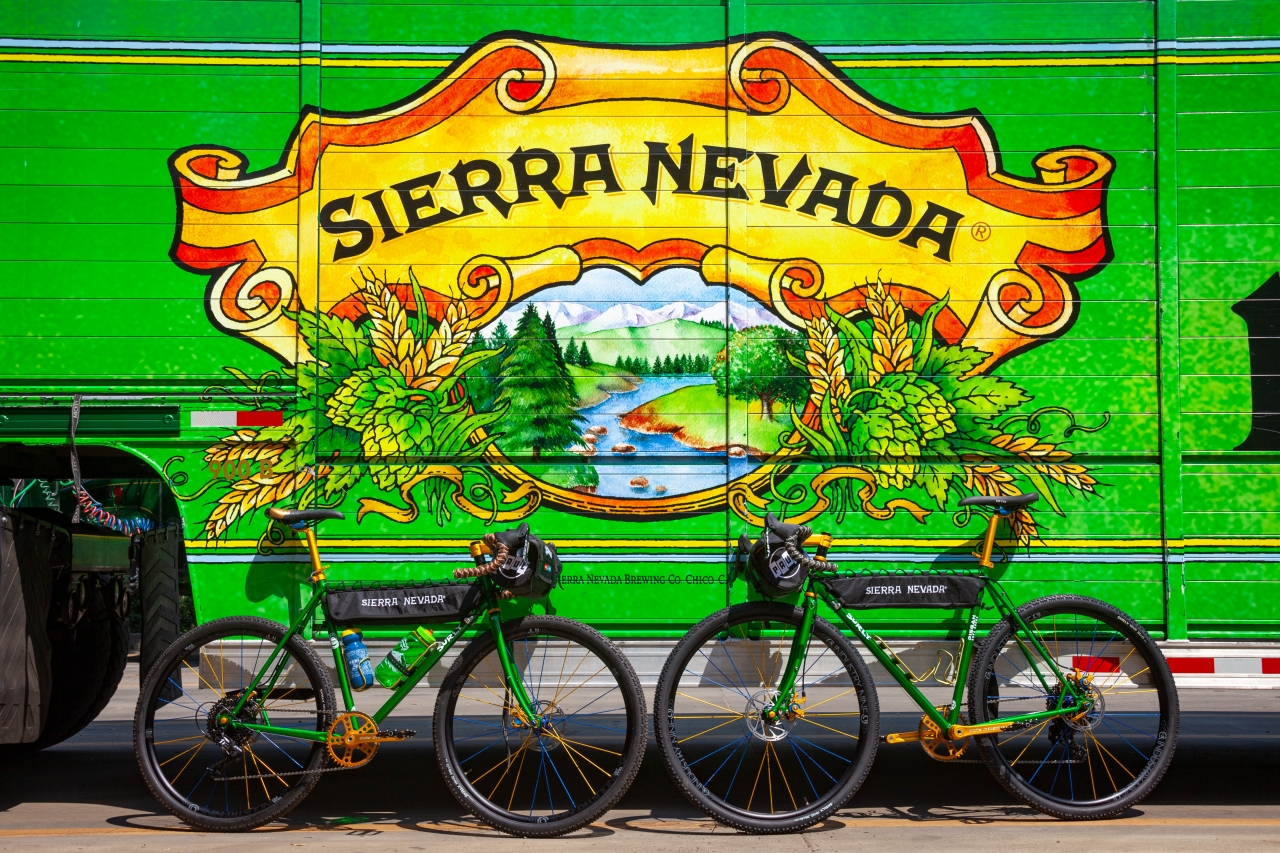 Two Sierra Nevada Bicycles in front of a Sierra Nevada Brewing truck